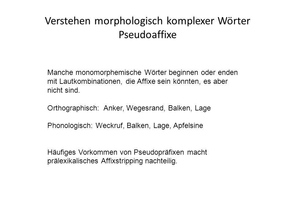Verstehen morphologisch komplexer Wörter Pseudoaffixe Manche monomorphemische Wörter beginnen oder enden mit Lautkombinationen, die Affixe sein könnten, es aber nicht sind.