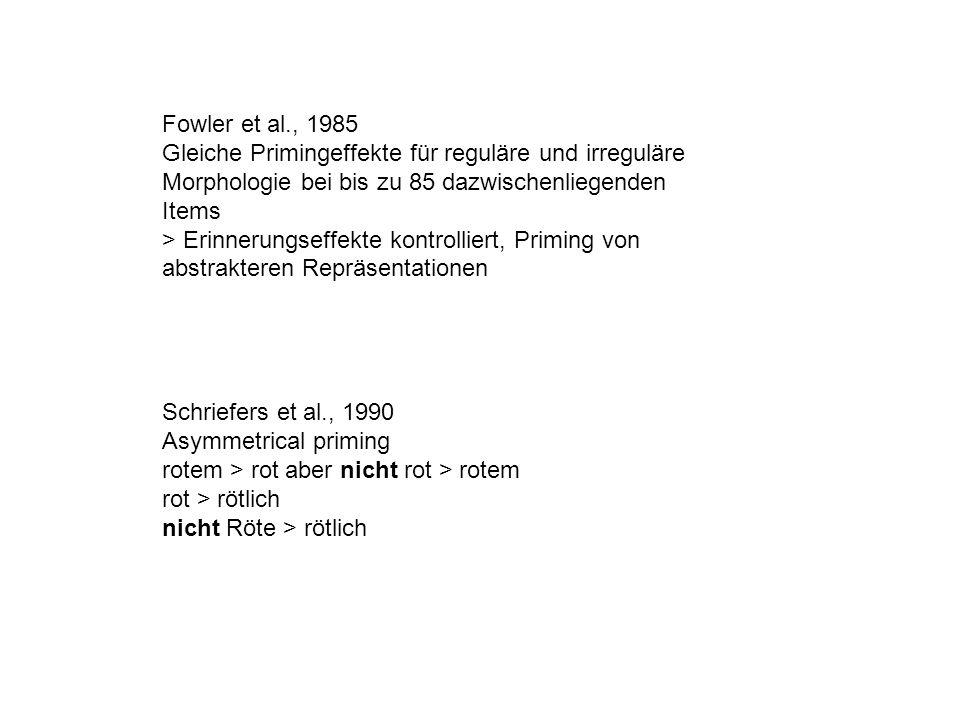 Fowler et al., 1985 Gleiche Primingeffekte für reguläre und irreguläre Morphologie bei bis zu 85 dazwischenliegenden Items > Erinnerungseffekte kontrolliert, Priming von abstrakteren Repräsentationen Schriefers et al., 1990 Asymmetrical priming rotem > rot aber nicht rot > rotem rot > rötlich nicht Röte > rötlich
