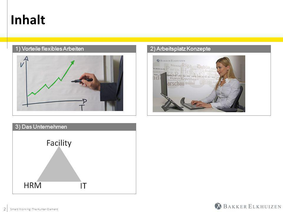 2 Inhalt 2 Smart Working: The Human Element 1) Vorteile flexibles Arbeiten2) Arbeitsplatz Konzepte 3) Das Unternehmen