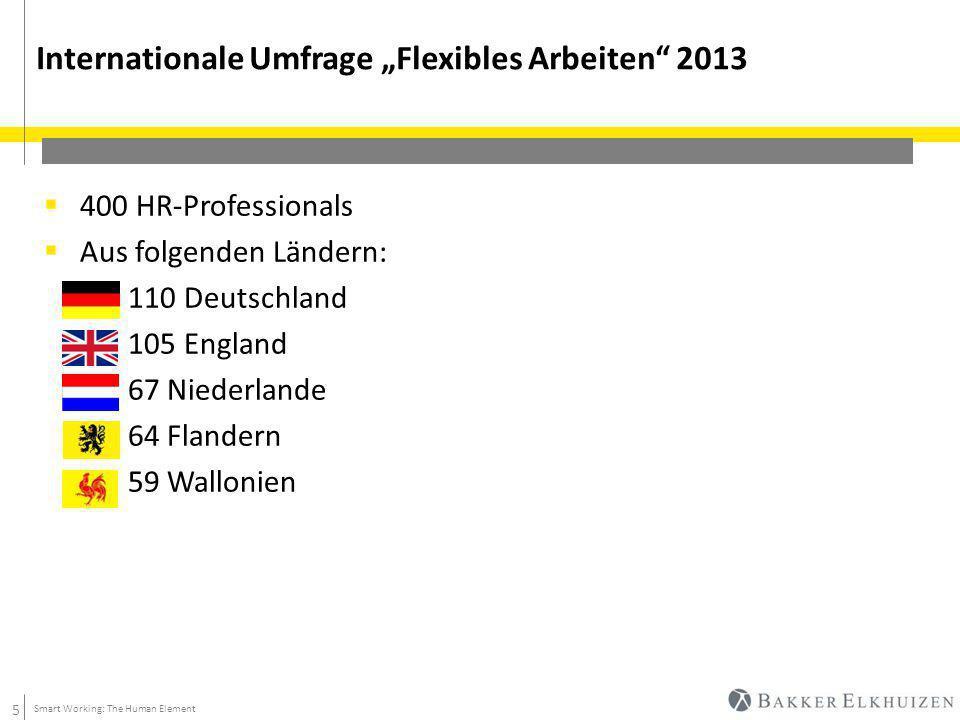 """5 Internationale Umfrage """"Flexibles Arbeiten 2013 Smart Working: The Human Element  400 HR-Professionals  Aus folgenden Ländern:  110 Deutschland  105 England  67 Niederlande  64 Flandern  59 Wallonien"""
