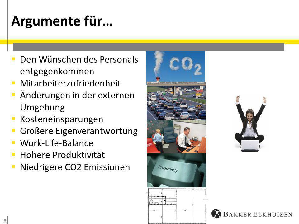 8  Den Wünschen des Personals entgegenkommen  Mitarbeiterzufriedenheit  Änderungen in der externen Umgebung  Kosteneinsparungen  Größere Eigenverantwortung  Work-Life-Balance  Höhere Produktivität  Niedrigere CO2 Emissionen Argumente für… 8