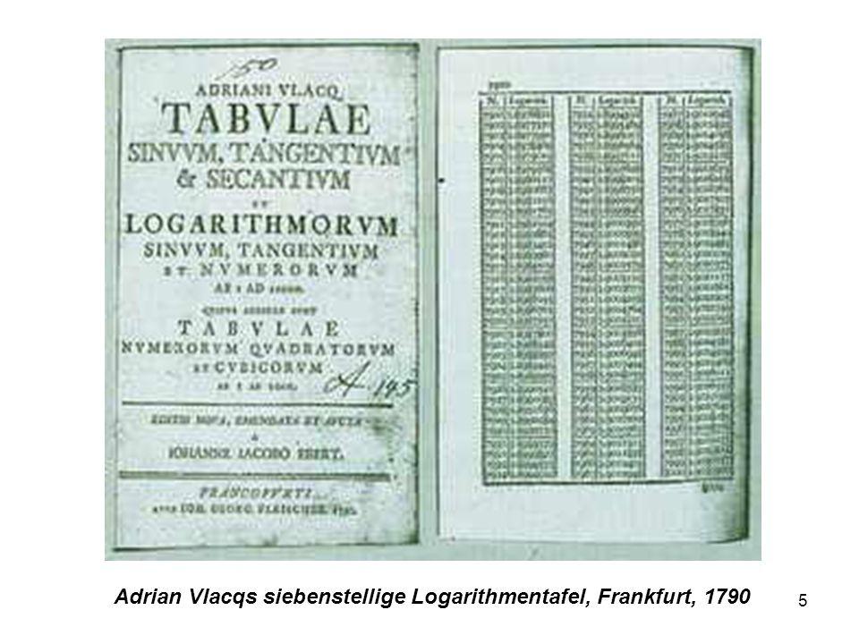 6 Logarithmentafeln aus der Descriptio Quelle: http://wwwmath.sci.kun.nl/math/werkgroepen/gmfw/bronnen/napiertabellen.html