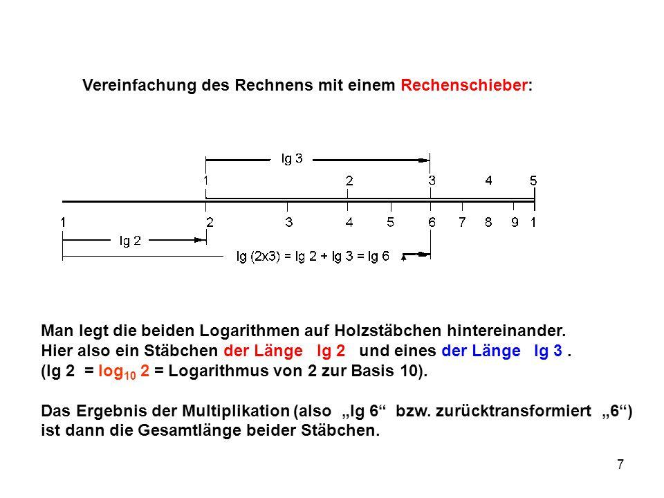 7 Vereinfachung des Rechnens mit einem Rechenschieber: Man legt die beiden Logarithmen auf Holzstäbchen hintereinander. Hier also ein Stäbchen der Län