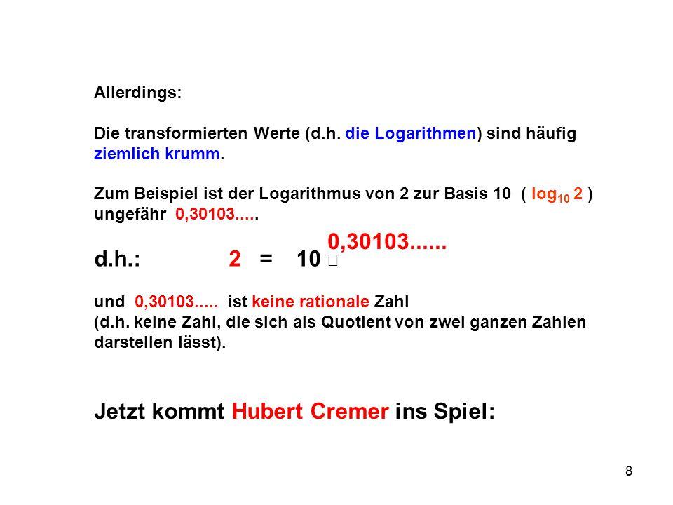 8 Allerdings: Die transformierten Werte (d.h. die Logarithmen) sind häufig ziemlich krumm. Zum Beispiel ist der Logarithmus von 2 zur Basis 10 ( log 1