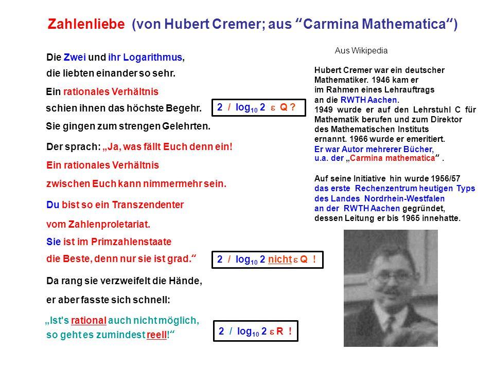 10 Wenn man es genau bedenkt, auch wenn der gute olle Napier ist Mathe doch gar arg beschränkt und glaubt, die Logarithmuszahl sei zur Zahl selbst nicht rational im Verhältnis jedenfalls.