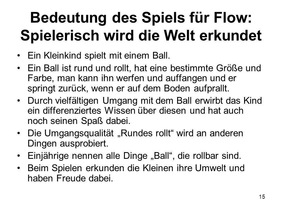 15 Bedeutung des Spiels für Flow: Spielerisch wird die Welt erkundet Ein Kleinkind spielt mit einem Ball. Ein Ball ist rund und rollt, hat eine bestim