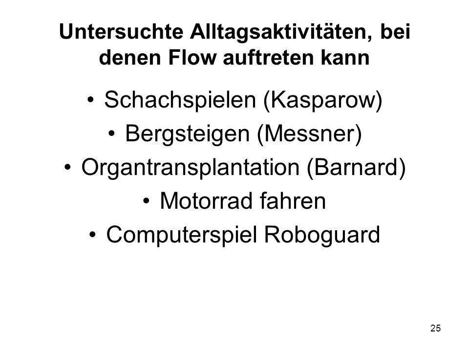 25 Untersuchte Alltagsaktivitäten, bei denen Flow auftreten kann Schachspielen (Kasparow) Bergsteigen (Messner) Organtransplantation (Barnard) Motorra