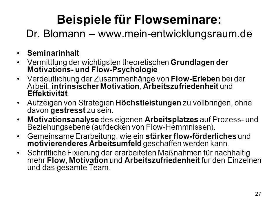 27 Beispiele für Flowseminare: Dr. Blomann – www.mein-entwicklungsraum.de Seminarinhalt Vermittlung der wichtigsten theoretischen Grundlagen der Motiv