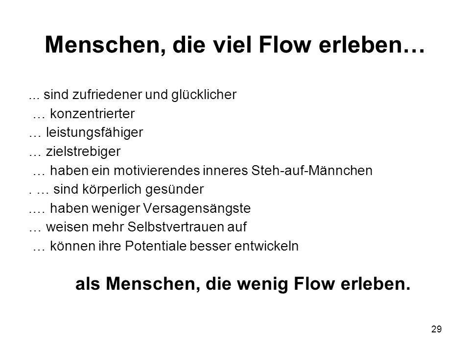 29 Menschen, die viel Flow erleben…... sind zufriedener und glücklicher … konzentrierter … leistungsfähiger … zielstrebiger … haben ein motivierendes