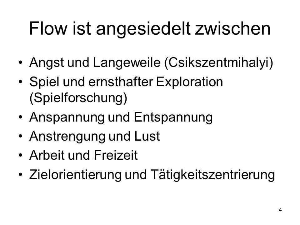 4 Flow ist angesiedelt zwischen Angst und Langeweile (Csikszentmihalyi) Spiel und ernsthafter Exploration (Spielforschung) Anspannung und Entspannung Anstrengung und Lust Arbeit und Freizeit Zielorientierung und Tätigkeitszentrierung