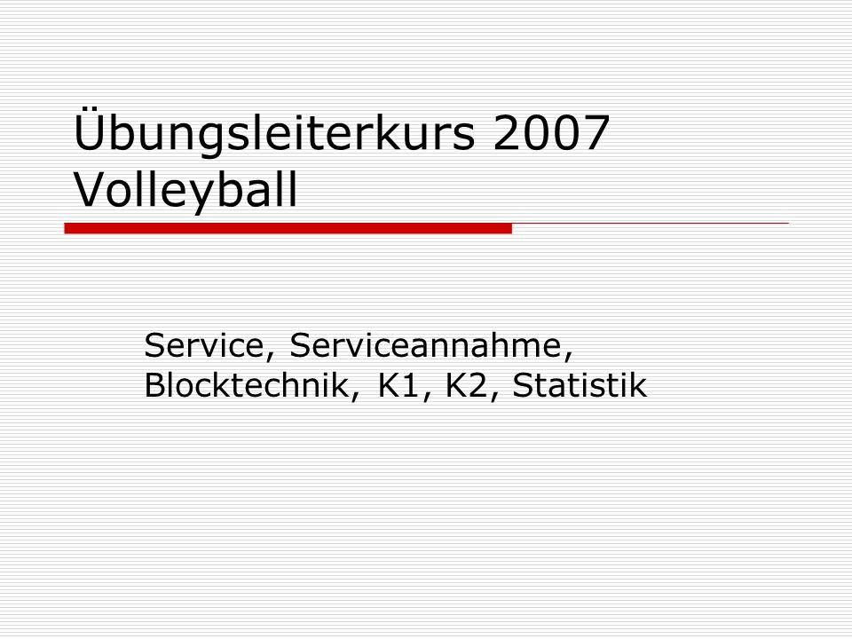 Übungsleiterkurs 2007 Volleyball Service, Serviceannahme, Blocktechnik, K1, K2, Statistik