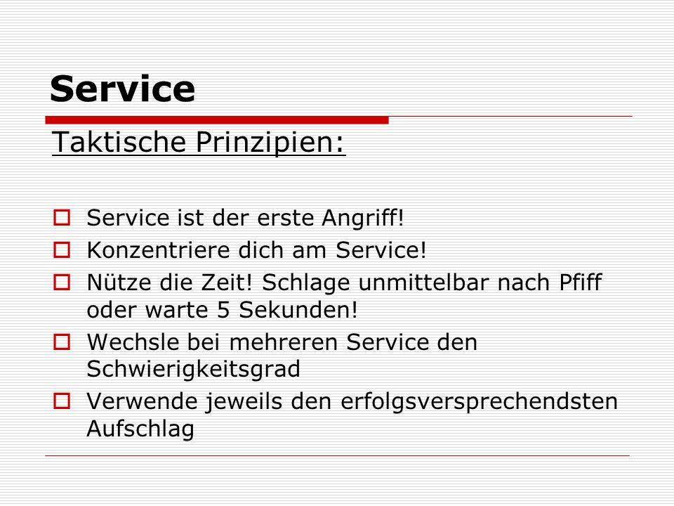 Service Taktische Prinzipien:  Service ist der erste Angriff!  Konzentriere dich am Service!  Nütze die Zeit! Schlage unmittelbar nach Pfiff oder w