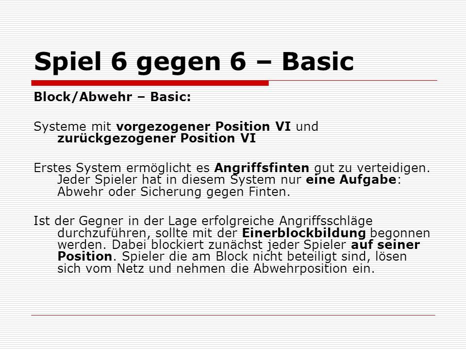 Spiel 6 gegen 6 – Basic Block/Abwehr – Basic: Systeme mit vorgezogener Position VI und zurückgezogener Position VI Erstes System ermöglicht es Angriff