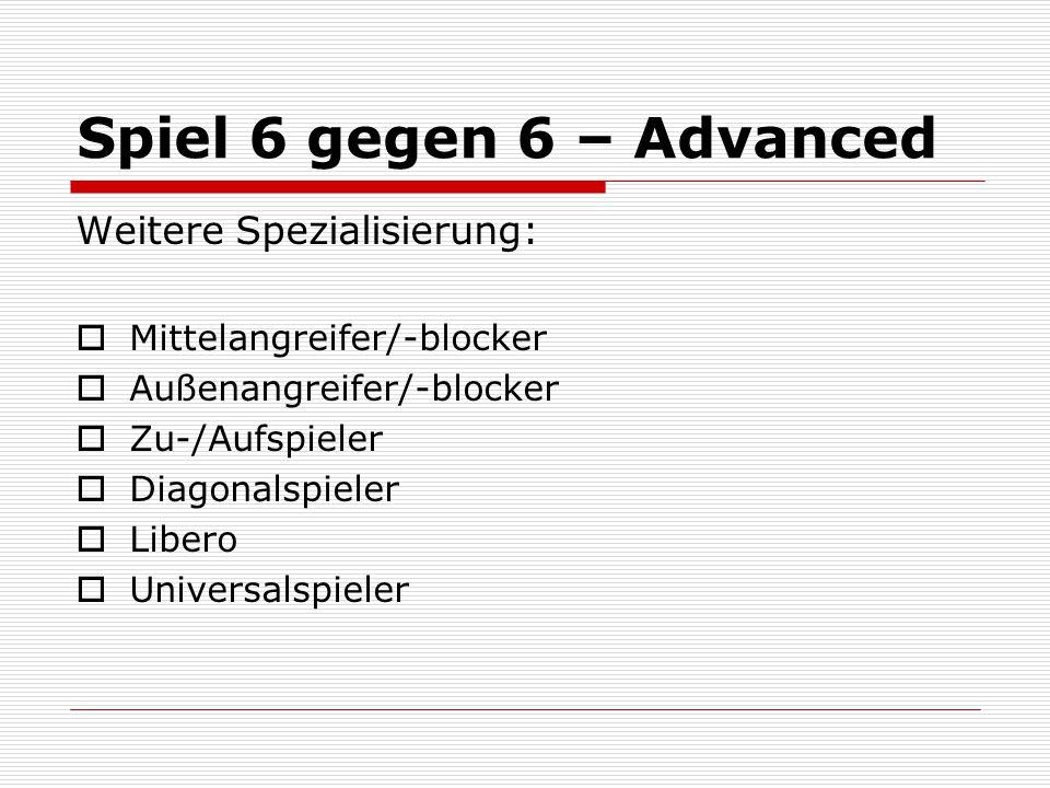 Spiel 6 gegen 6 – Advanced Weitere Spezialisierung:  Mittelangreifer/-blocker  Außenangreifer/-blocker  Zu-/Aufspieler  Diagonalspieler  Libero 