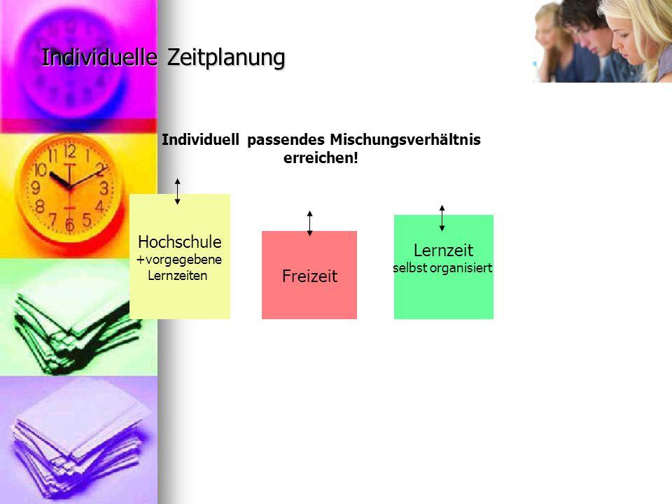 Individuelle Zeitplanung Hochschule +vorgegebene Lernzeiten Freizeit Lernzeit selbst organisiert Individuell passendes Mischungsverhältnis erreichen!
