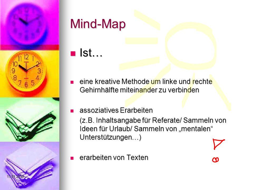 Mind-Map Ist… Ist… eine kreative Methode um linke und rechte Gehirnhälfte miteinander zu verbinden eine kreative Methode um linke und rechte Gehirnhälfte miteinander zu verbinden assoziatives Erarbeiten assoziatives Erarbeiten (z.B.