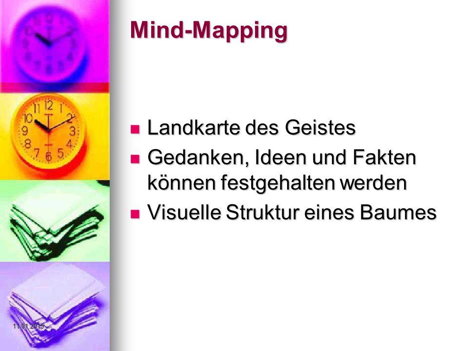 Mind-Mapping Landkarte des Geistes Landkarte des Geistes Gedanken, Ideen und Fakten können festgehalten werden Gedanken, Ideen und Fakten können festgehalten werden Visuelle Struktur eines Baumes Visuelle Struktur eines Baumes 11.01.2015