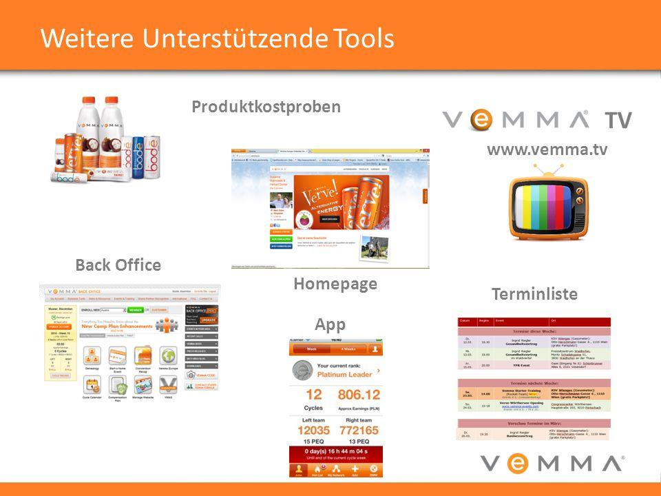 Weitere Unterstützende Tools Produktkostproben Homepage Back Office Terminliste App TV www.vemma.tv