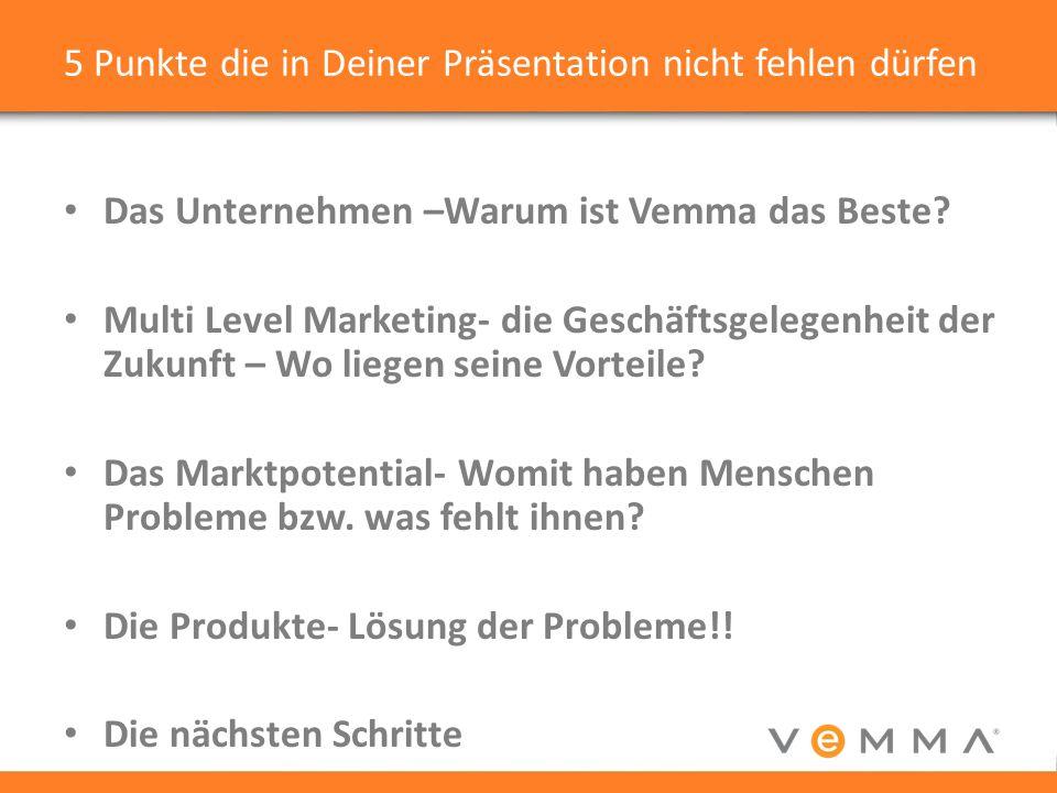 5 Punkte die in Deiner Präsentation nicht fehlen dürfen Das Unternehmen –Warum ist Vemma das Beste.