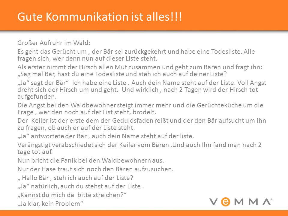 Gute Kommunikation ist alles!!.