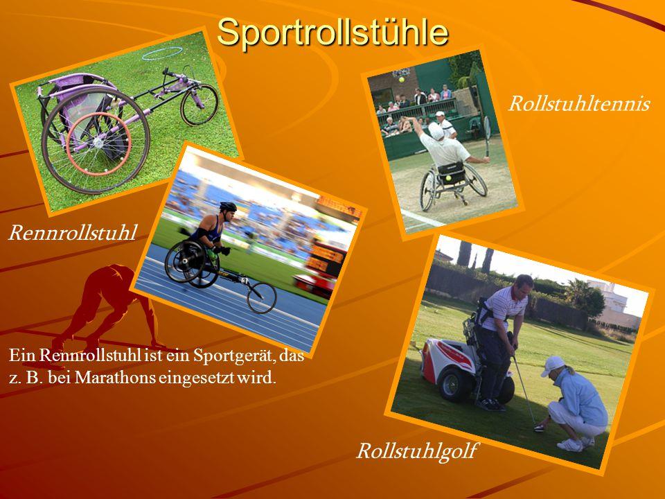 Sportrollstühle Rennrollstuhl Rollstuhltennis Ein Rennrollstuhl ist ein Sportgerät, das z. B. bei Marathons eingesetzt wird. Rollstuhlgolf