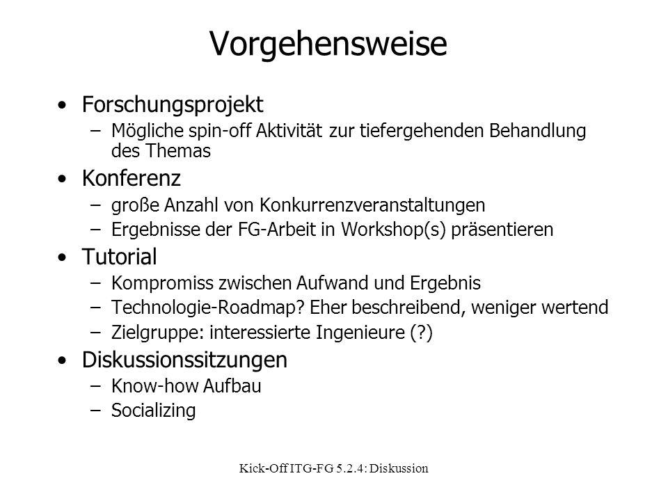 Kick-Off ITG-FG 5.2.4: Diskussion Vorgehensweise Forschungsprojekt –Mögliche spin-off Aktivität zur tiefergehenden Behandlung des Themas Konferenz –große Anzahl von Konkurrenzveranstaltungen –Ergebnisse der FG-Arbeit in Workshop(s) präsentieren Tutorial –Kompromiss zwischen Aufwand und Ergebnis –Technologie-Roadmap.