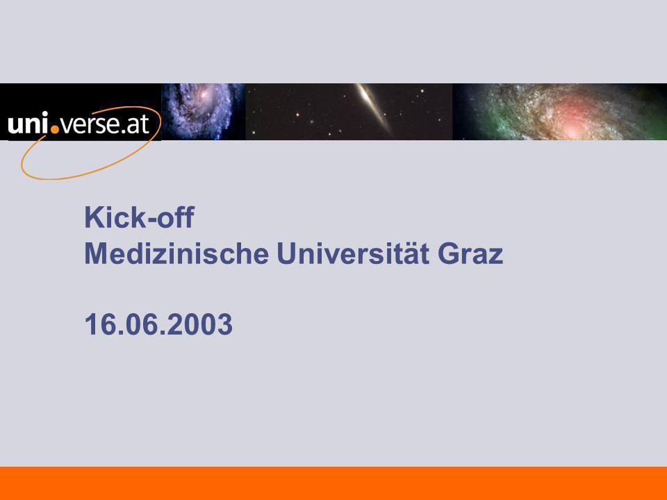 16.06.2003 TeamWorks uni.verse_Rollout_:\ Medizinische Universität Graz\Projektleitung\ UNI_RO_PRS_Kick-off_030616 12