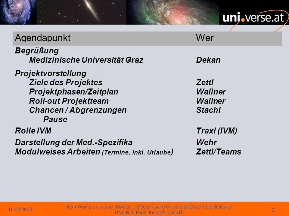 16.06.2003 TeamWorks uni.verse_Rollout_:\ Medizinische Universität Graz\Projektleitung\ UNI_RO_PRS_Kick-off_030616 3 Begrüßung Medizinische Universität => Dekan Univ.