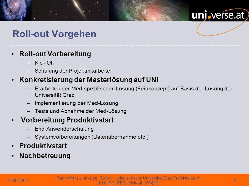 16.06.2003 TeamWorks uni.verse_Rollout_:\ Medizinische Universität Graz\Projektleitung\ UNI_RO_PRS_Kick-off_030616 10
