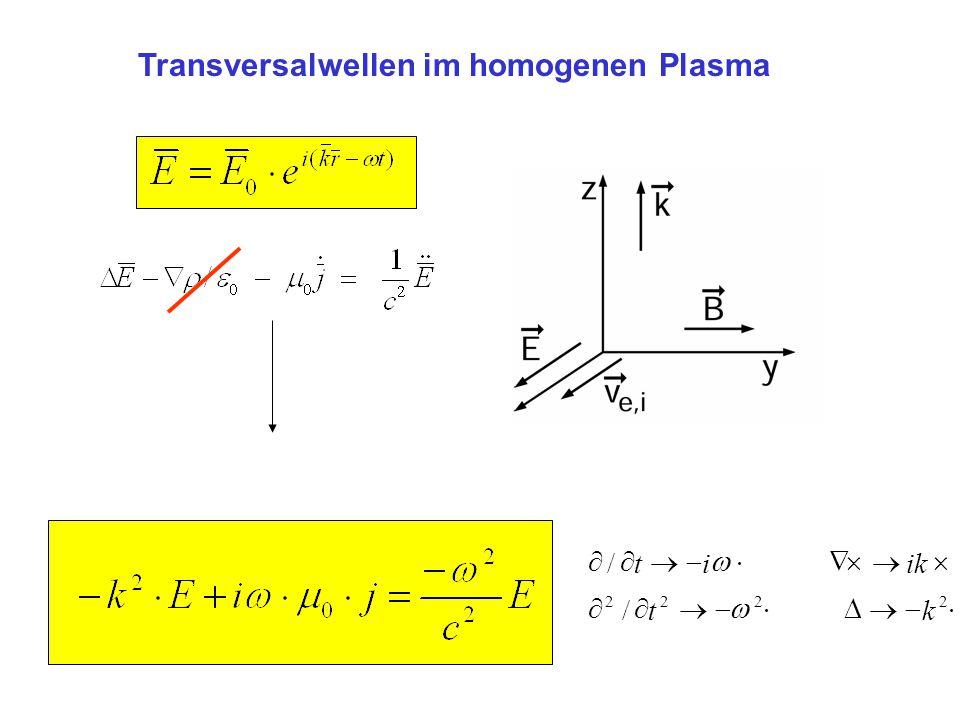 Transversalwellen im homogenen Plasma   2222 /kt ik   /it 