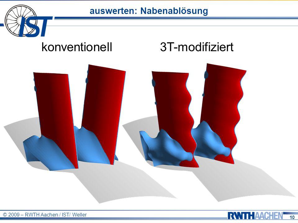 10 © 2009 – RWTH Aachen / IST/ Weller auswerten: Nabenablösung konventionell3T-modifiziert
