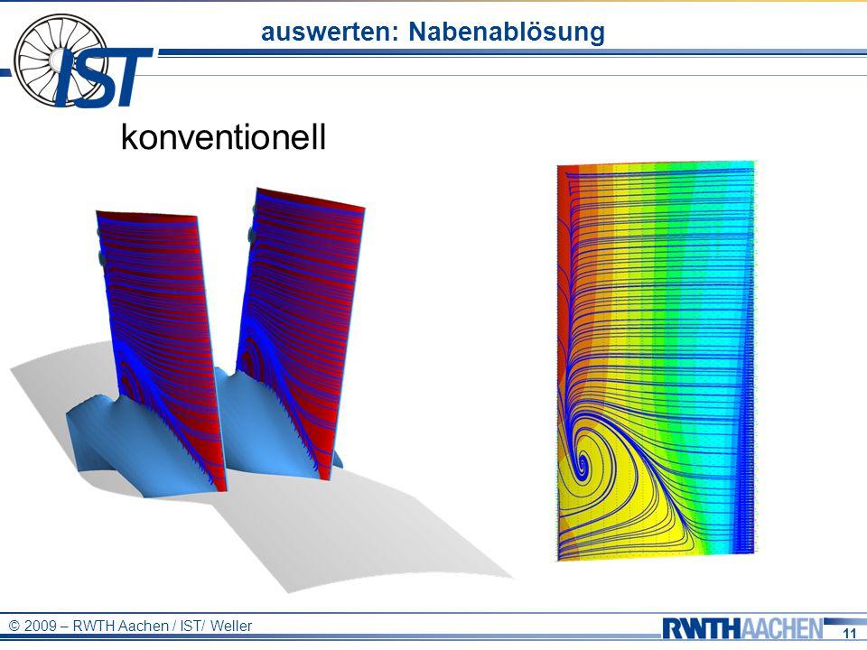 11 © 2009 – RWTH Aachen / IST/ Weller auswerten: Nabenablösung konventionell