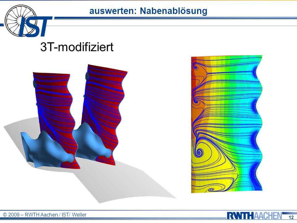12 © 2009 – RWTH Aachen / IST/ Weller auswerten: Nabenablösung 3T-modifiziert