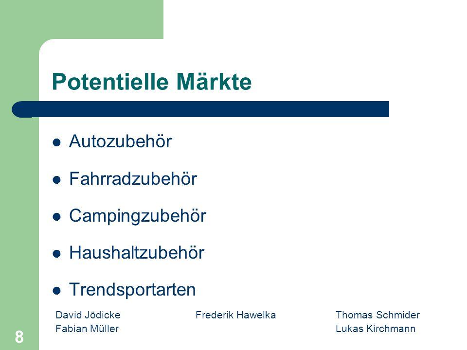 David Jödicke Frederik Hawelka Thomas Schmider Fabian MüllerLukas Kirchmann 8 Potentielle Märkte Autozubehör Fahrradzubehör Campingzubehör Haushaltzub