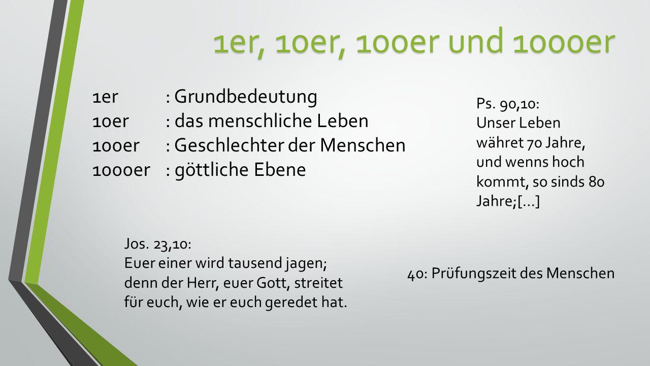 1er, 10er, 100er und 1000er 1er : Grundbedeutung 10er : das menschliche Leben 100er: Geschlechter der Menschen 1000er: göttliche Ebene Ps.