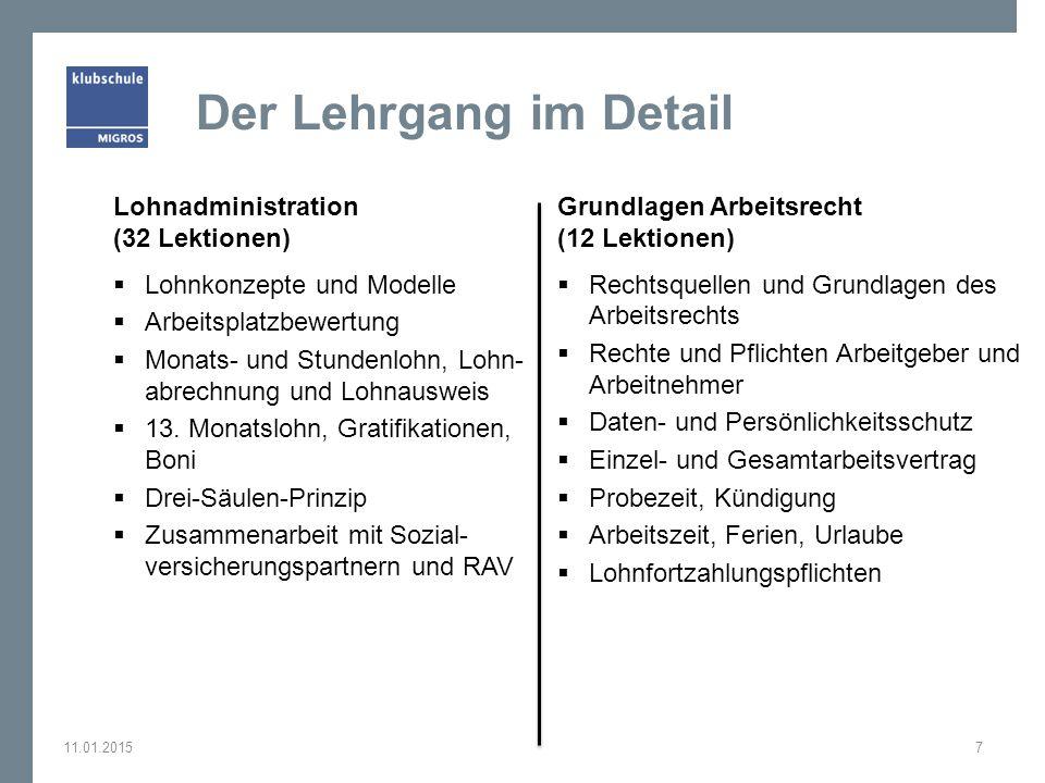 Der Lehrgang im Detail Lohnadministration (32 Lektionen)  Lohnkonzepte und Modelle  Arbeitsplatzbewertung  Monats- und Stundenlohn, Lohn- abrechnun