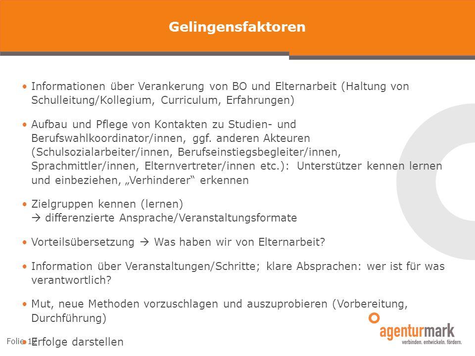 Folie 12 Gelingensfaktoren Informationen über Verankerung von BO und Elternarbeit (Haltung von Schulleitung/Kollegium, Curriculum, Erfahrungen) Aufbau