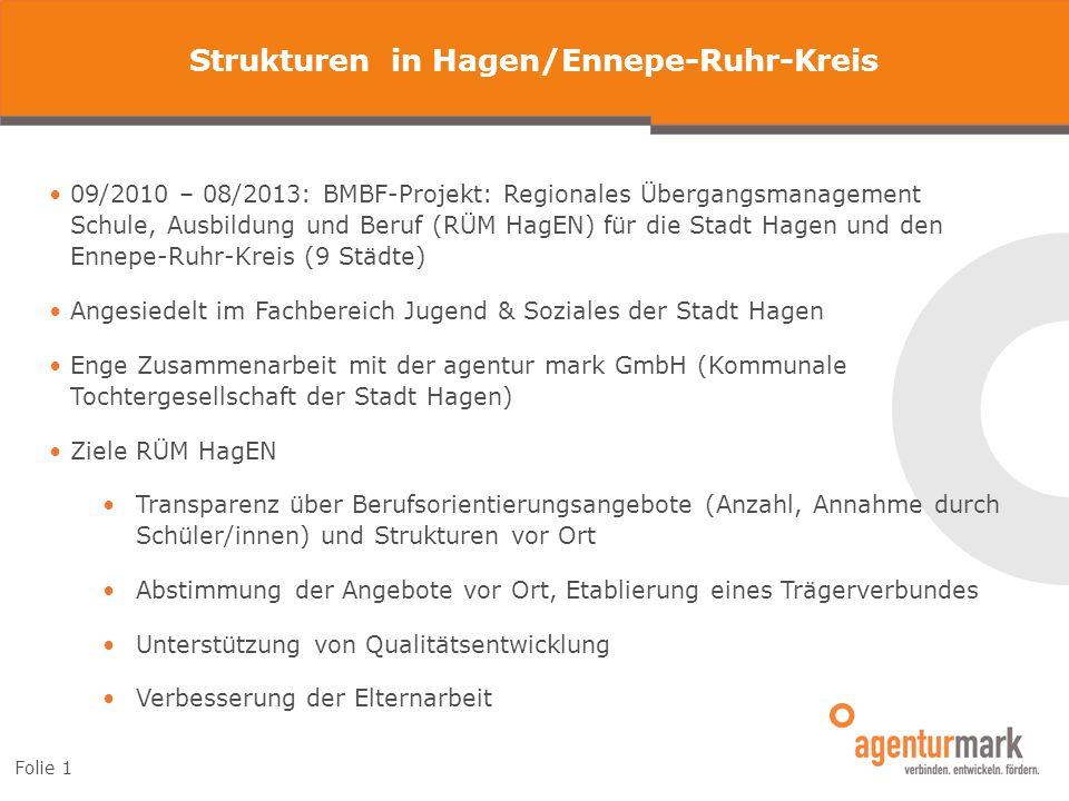 Folie 1 Strukturen in Hagen/Ennepe-Ruhr-Kreis 09/2010 – 08/2013: BMBF-Projekt: Regionales Übergangsmanagement Schule, Ausbildung und Beruf (RÜM HagEN)