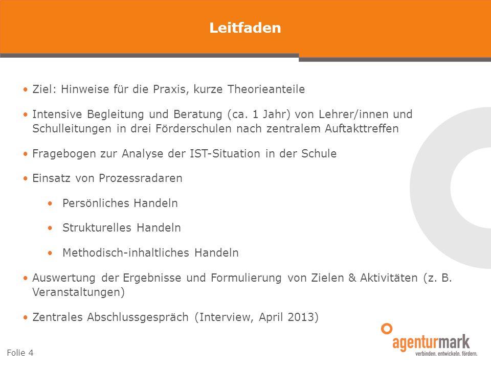 Leitfaden Folie 4 Ziel: Hinweise für die Praxis, kurze Theorieanteile Intensive Begleitung und Beratung (ca. 1 Jahr) von Lehrer/innen und Schulleitung