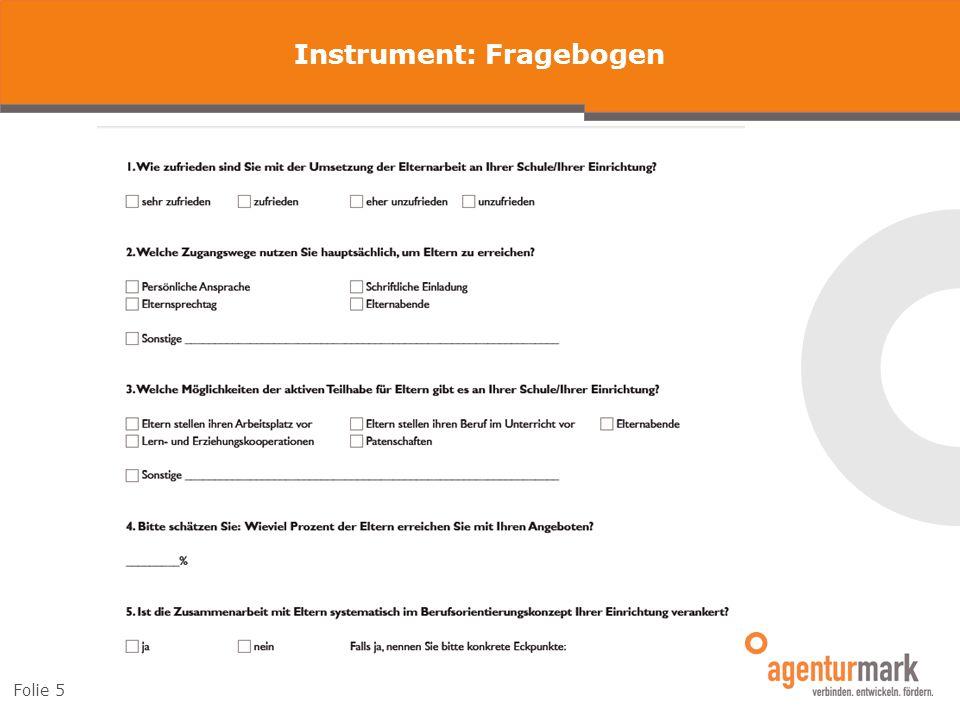 Instrument: Fragebogen Folie 5