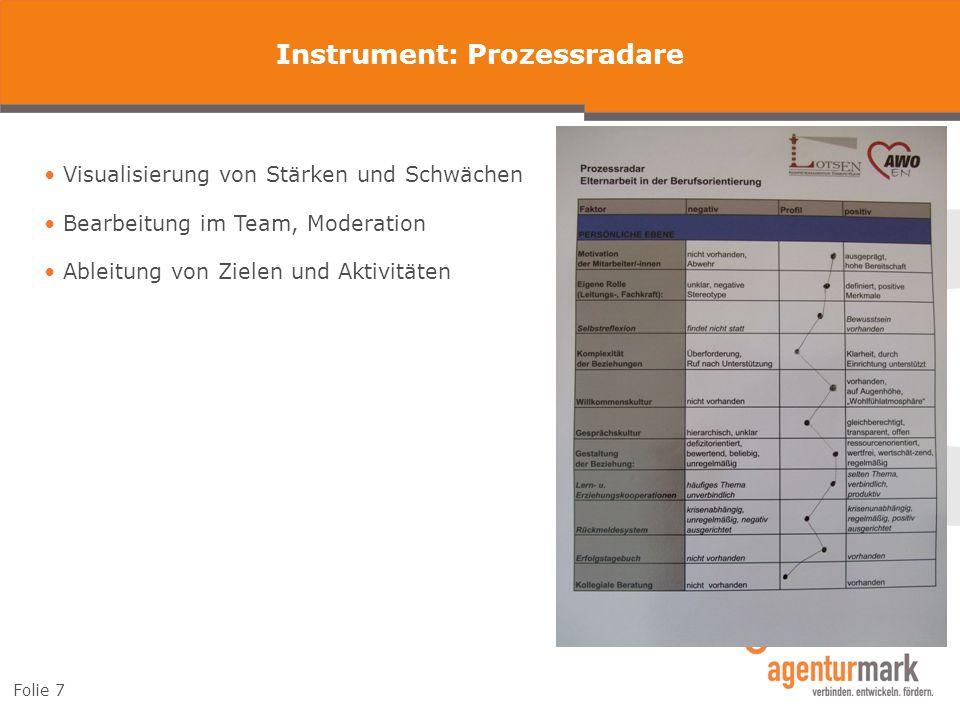 Folie 7 Instrument: Prozessradare Visualisierung von Stärken und Schwächen Bearbeitung im Team, Moderation Ableitung von Zielen und Aktivitäten