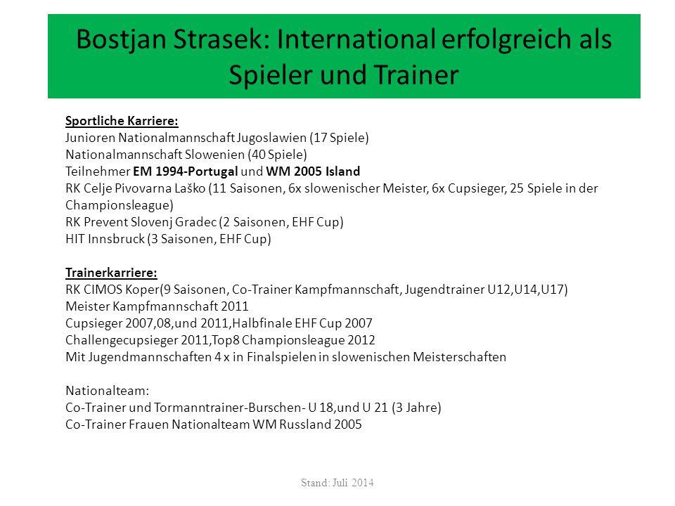 Bostjan Strasek: International erfolgreich als Spieler und Trainer Stand: Juli 2014 Sportliche Karriere: Junioren Nationalmannschaft Jugoslawien (17 S