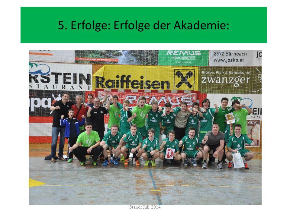 5. Erfolge: Erfolge der Akademie: Stand: Juli 2014