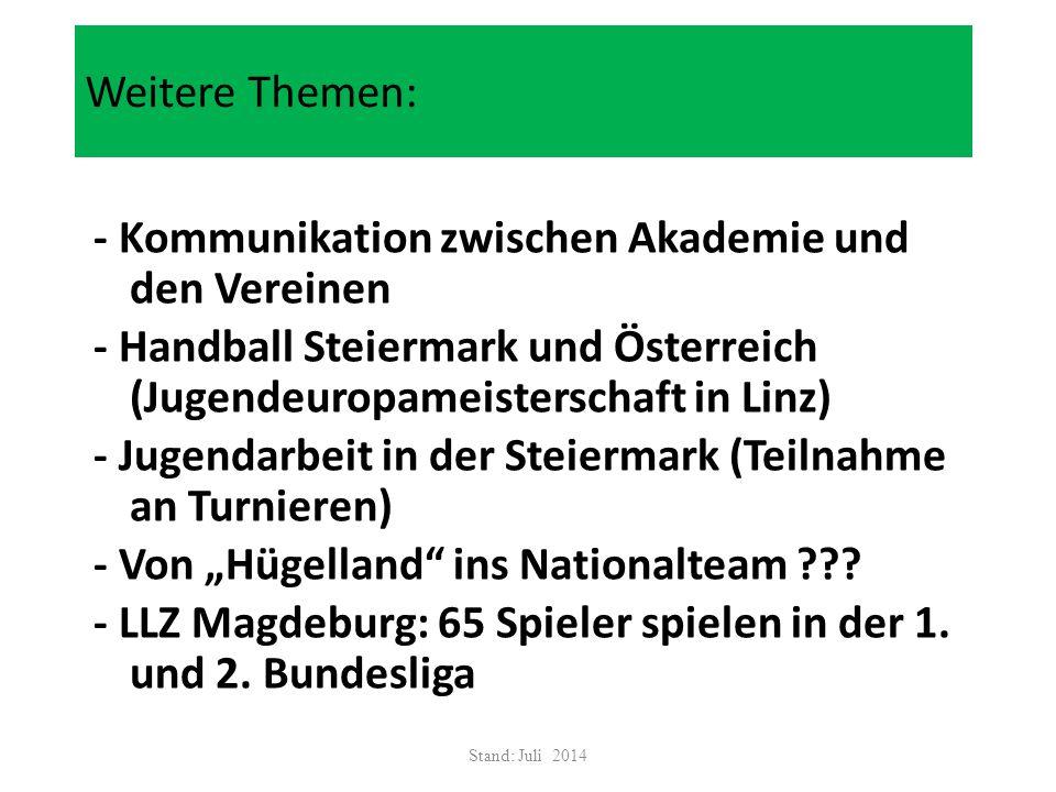 Weitere Themen: - Kommunikation zwischen Akademie und den Vereinen - Handball Steiermark und Österreich (Jugendeuropameisterschaft in Linz) - Jugendar