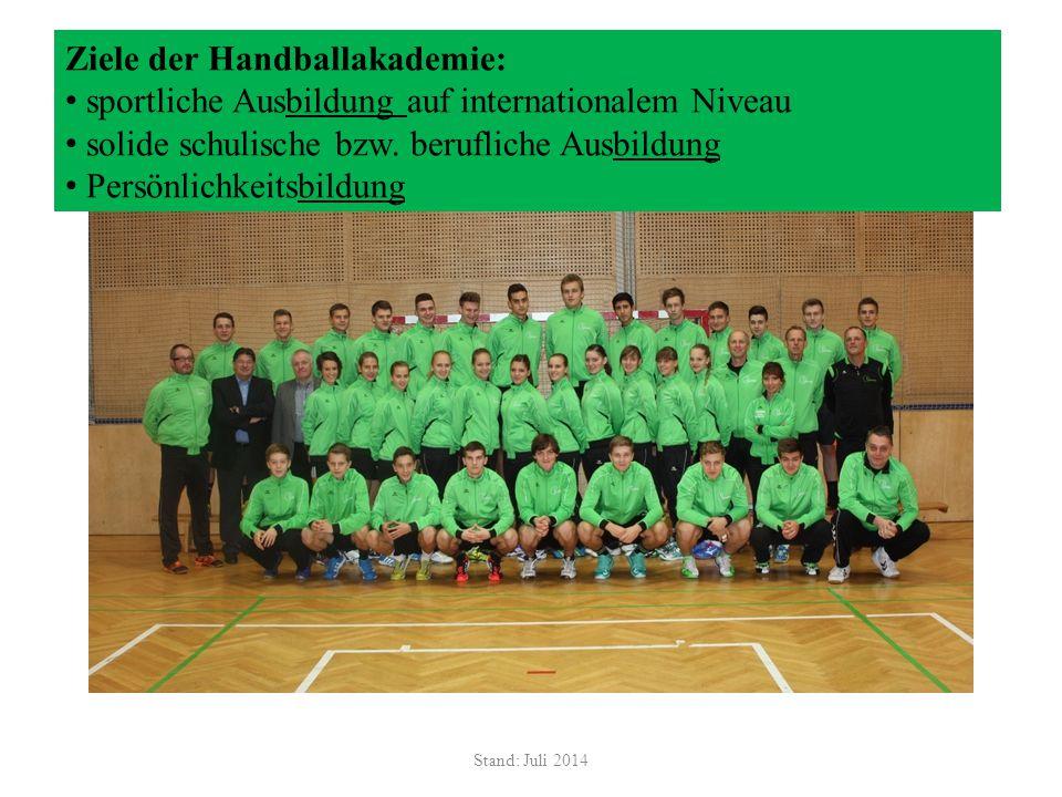 Stand: Juli 2014 Ziele der Handballakademie: sportliche Ausbildung auf internationalem Niveau solide schulische bzw. berufliche Ausbildung Persönlichk