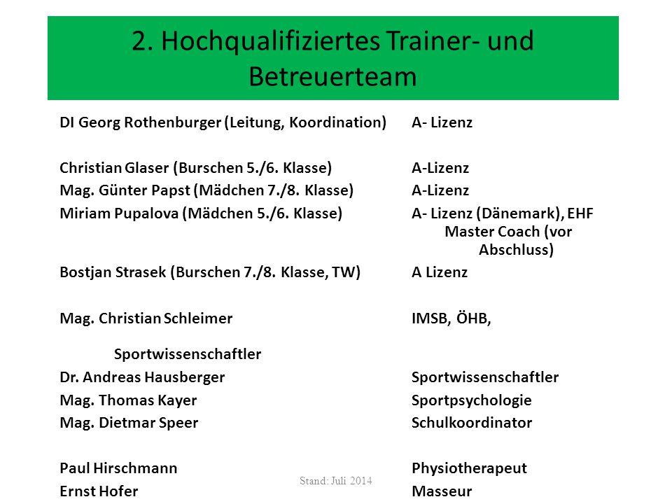 2. Hochqualifiziertes Trainer- und Betreuerteam DI Georg Rothenburger (Leitung, Koordination) A- Lizenz Christian Glaser (Burschen 5./6. Klasse) A-Liz