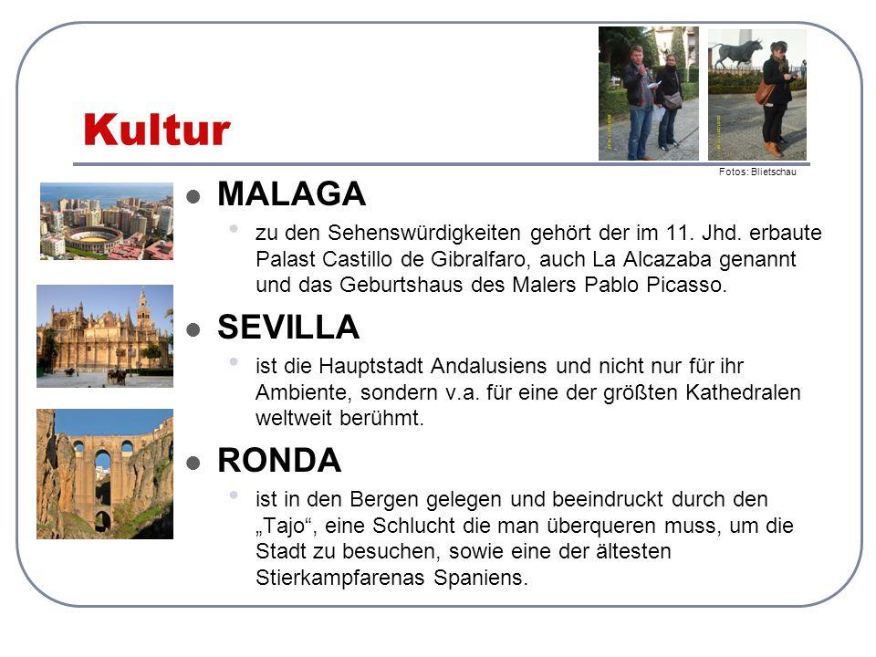 Kultur MALAGA zu den Sehenswürdigkeiten gehört der im 11. Jhd. erbaute Palast Castillo de Gibralfaro, auch La Alcazaba genannt und das Geburtshaus des