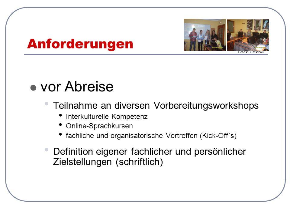 Anforderungen vor Ort in Gruppen Entwicklung eines WG Planes mit zu unterzeichnenden Hausregeln (Word + Pdf) Ausarbeitung von Leitfäden/ Themenstellungen für die Durchführung von Interviews mit Experten des spanischen Touristiksektors + Entwicklung einer Stadtführung (Word + Pdf) Protokollierung der Ergebnisse + Verfassen eines Wochenberichtes mit Fotos (Word + Pdf) Präsentation der Ergebnisse auf Spanisch (Ppt + Pdf) Feedback zum Erasmus + Projekt im PC-Raum Formulieren von abschließenden Eindrücken (schriftlich) Reflexion der persönlichen Zielerreichung (mündlich) Fotos: Blietschau