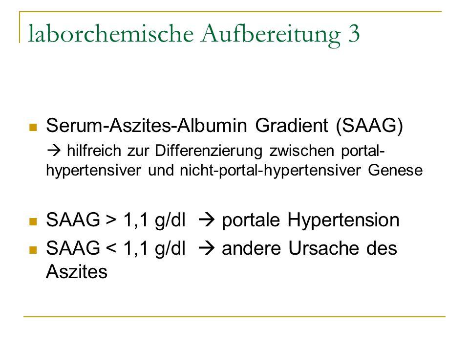laborchemische Aufbereitung 3 Serum-Aszites-Albumin Gradient (SAAG)  hilfreich zur Differenzierung zwischen portal- hypertensiver und nicht-portal-hy