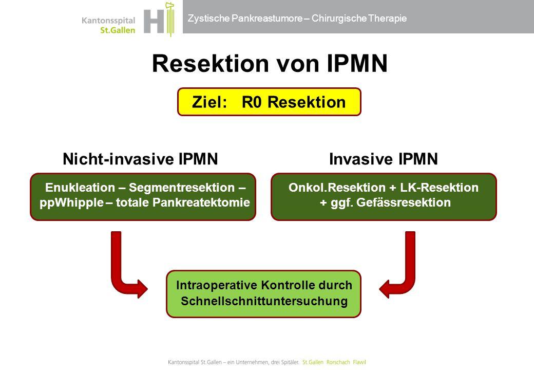 Zystische Pankreastumore – Chirurgische Therapie Ziel:R0 Resektion Resektion von IPMN Enukleation – Segmentresektion – ppWhipple – totale Pankreatekto
